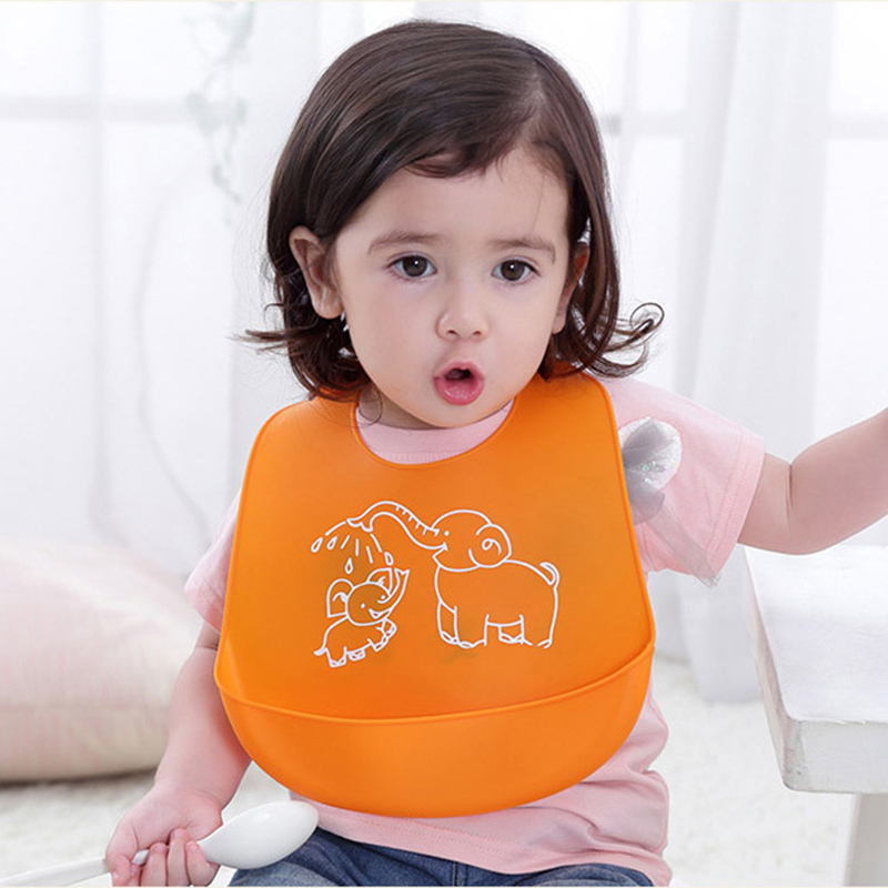Cartoon Baby Bibs Kids Children Silicone Stereo Bib Adjustable Waterproof Bib Waterproof Silicone Feeding Baby Saliva Towel