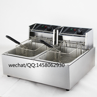 Keuken Apparatuur Aanrecht Rvs dubbele tank dubbele mand 12L elektrische Friteuse frietjes friteuse