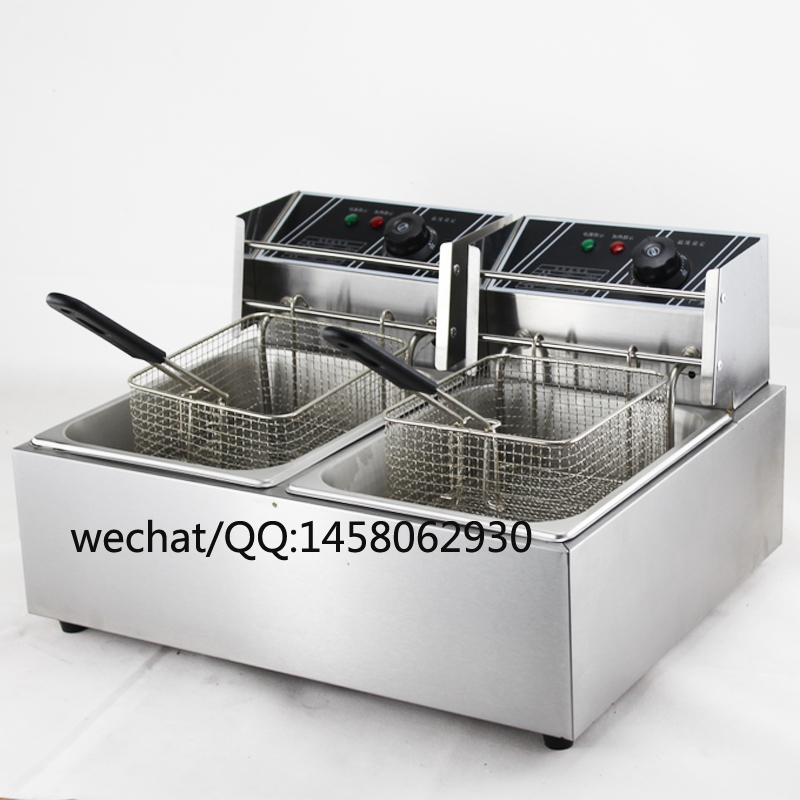 купить Kitchen Equipment Countertop Stainless Steel double tank double basket 12L electric Deep Fryer french fries deep fryer недорого