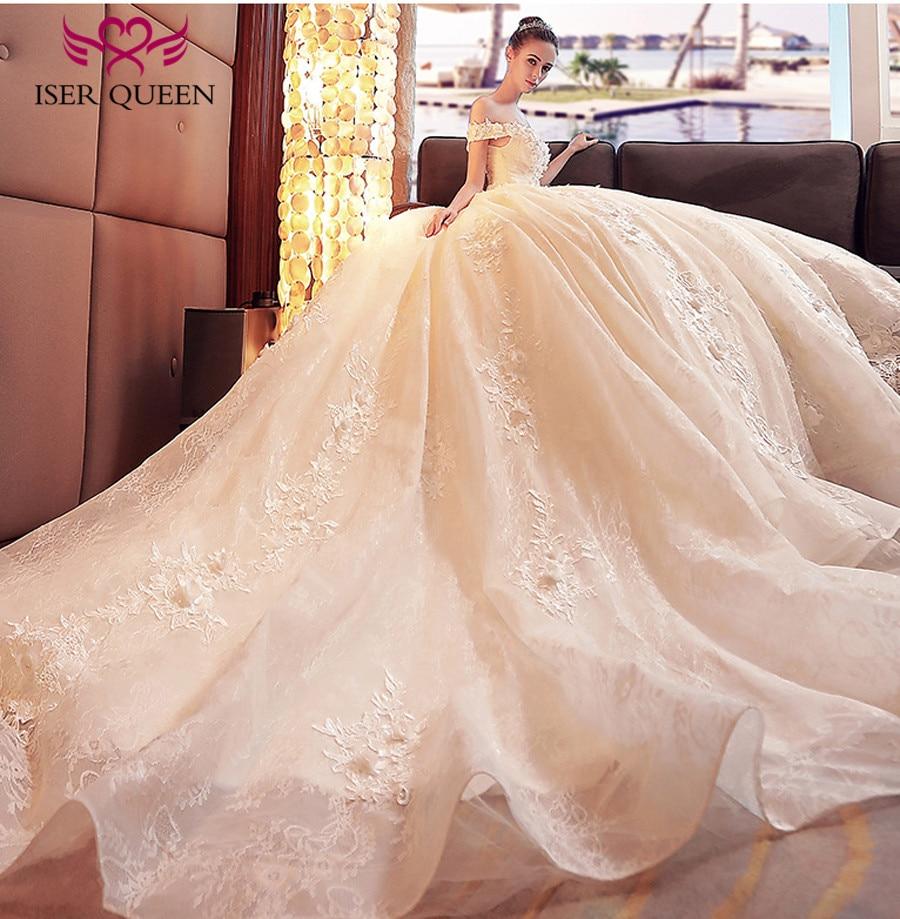 3D-Floral Appliques Arab Quality Plus Size Wedding Dresses Cap Sleeve Lace Up Backless Royal Princess Wedding Dress 2019 WX0120