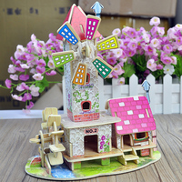 3D Wood Puzzle DIY Model Kids Toy Dutch Windmill Puzzle Puzzle 3d Building Gift For Girls