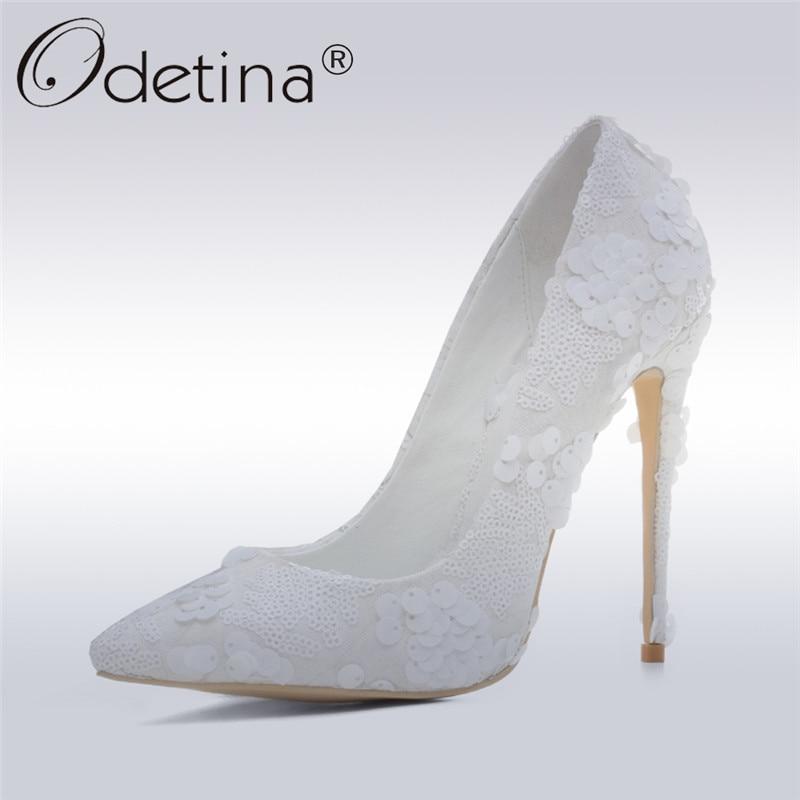 Odetina 2017 New Fashion Wedding Shoes Women White Extreme High Heels 12 Cm Sexy Pumps Stiletto Heels Flower Slip On Big Size 43 classic fashion women s club banquet wedding shoes sexy suede zipper 17 cm in stiletto heels