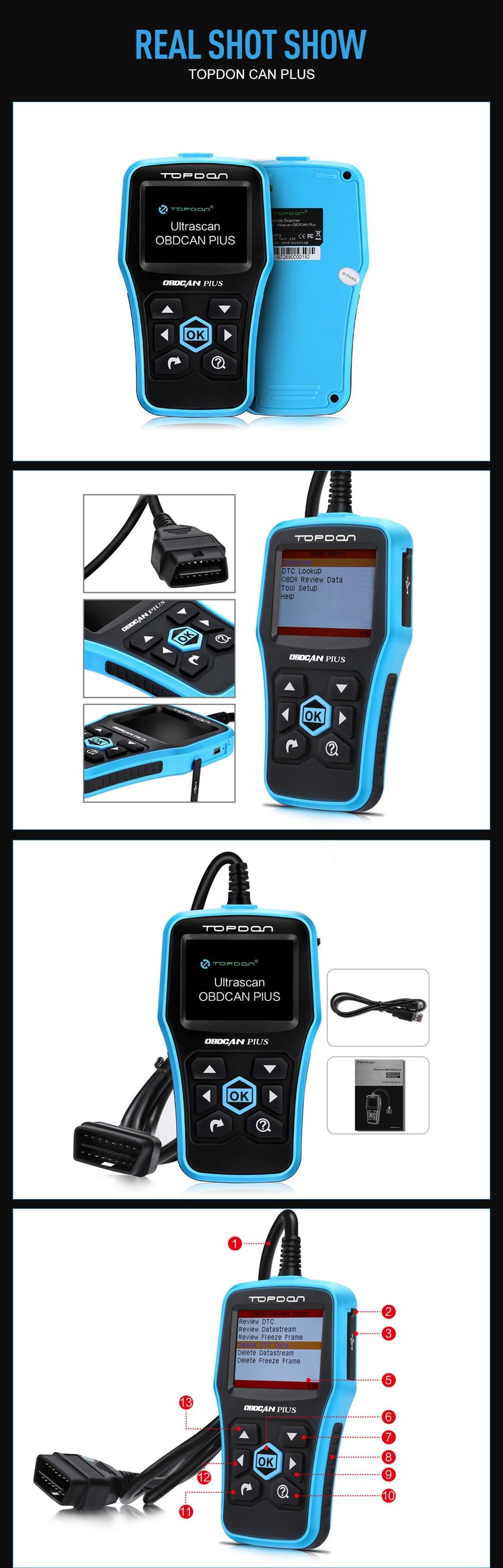✅OBD2 escáner herramienta de diagnóstico TOPDON más 2,0-función ...