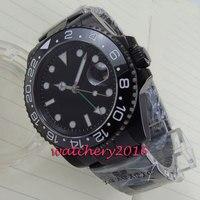 Nowy 40mm czarna tarcza Parnis PVD case ceramiczna ramka GMT biały numer szafirowe szkło automatyczny ruch męski zegarek biznesowy w Zegarki mechaniczne od Zegarki na
