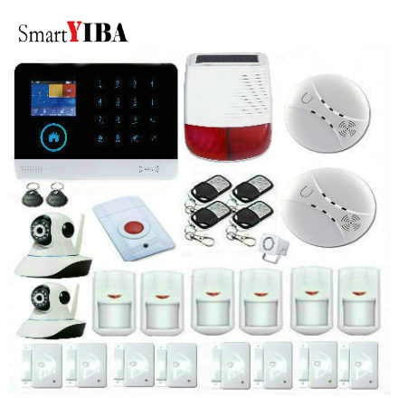SmartYIBA Smart WIFI GSM GPRS Security Alarm System+PIR Motion Sensor+Remote Controller+Sora Siren+Wired Siren+IP Camera Alarm