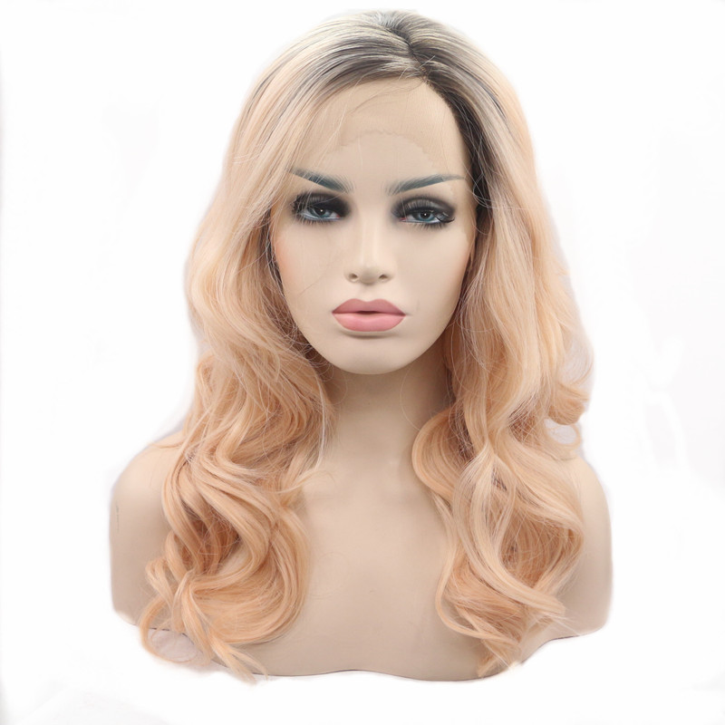 Lace Wigs Fashion Style Pervado Hair Synthetic Hair High Temperature Fiber Brown Color 14 Ocean Wave Glueless Front Lace Wigs For Women Cosplay Wig Synthetic Lace Wigs