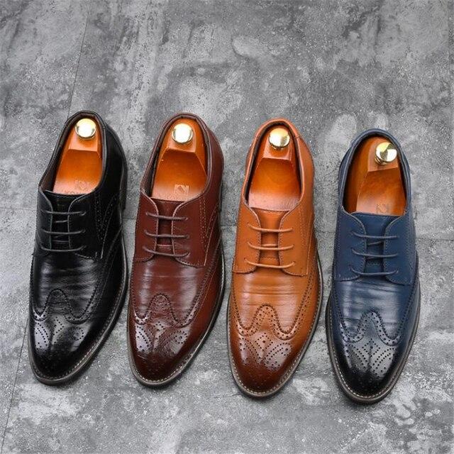 37-48 חדש 2018 אופנה Mens נעלי גברים נעלי אוקספורד שחור חום מותג גברים נעליים יומיומיות גברים עור נעלי גברים דירות
