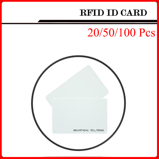 20/50/100Pcs White Token ID Card RFID Card 125KHZ Passive Tags RFID Card For Access Control System and Timeclock