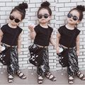 2016 new Children clothing sets Michael daughters Girls  summer short sleeve shirt+Harem pants kids girl clothes suits 2pcs/set