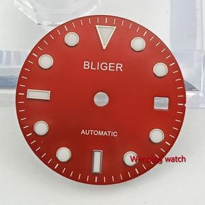 Image 2 - Bliger 28.5mm אין לוגו זוהר תאריך חלון אדום שעון חיוג fit ETA 2824 2836 MIYOTA 8215 821A Mingzhu DG2813 אוטומטי תנועה