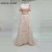 New Arrival Pink Luxury Evening Dresses Hot Sale Feathers Beading Handmade Evening Prom Dress Short Sleeve