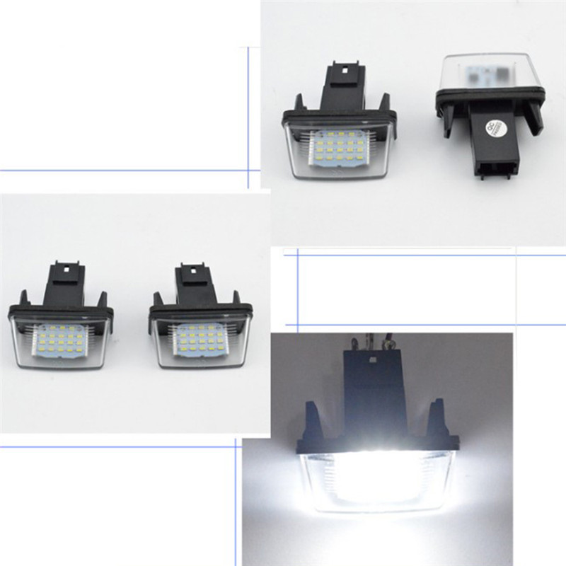 1Pair <font><b>LED</b></font> License Number Plate Lights Lamp For <font><b>Peugeot</b></font> <font><b>206</b></font>/207/307/308 Citroen C3-C6 image