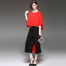 Beach tunic 2017 summer solid color loose T shirt with wide leg pants two sets vestido de festa Women's clothing black dress