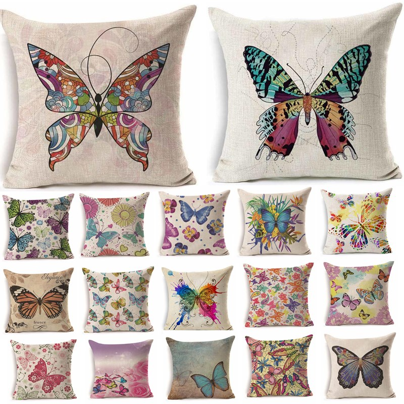1Pcs 45*45cm Colorful Butterfly Floral Pattern Cotton Linen Throw Pillow Cushion Cover Car Home Sofa Decorative Pillowcase 40234