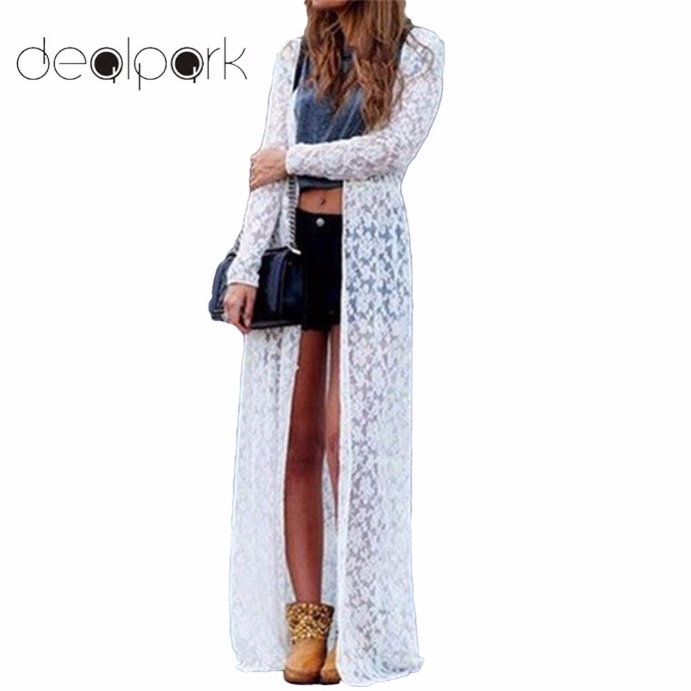 Women Outerwear Floral Lace Kimono Plus Size Elegant Beach Cover ...