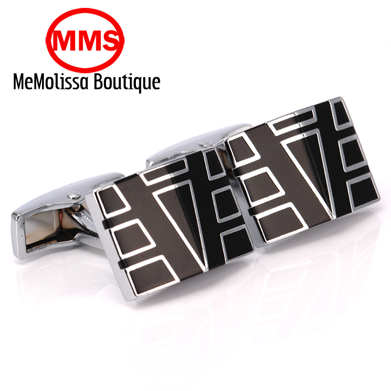 MeMolissa High Quality French enamel black letter A Cufflink For Mens Shirt Brand suit Cuff Buttons Top sale Cuff Links Jewelry