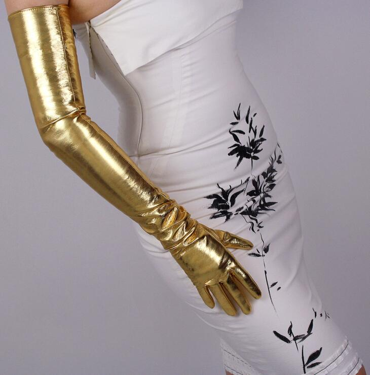Women's Patent Pu Leather Golden Long Gloves Female Ultra Long Fashion Long Leather Party Dress Gold Glove 70cm R975