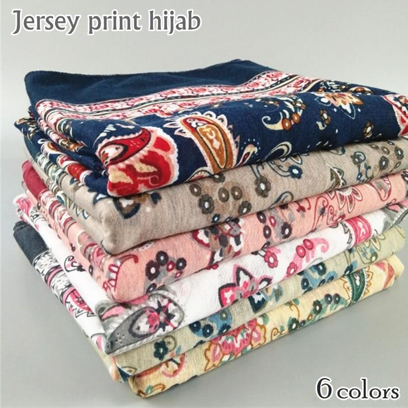 women Jersey hijab paisely pattern scarf elastic shawl soft muslim headband cashew shawls scarves foulard fashion