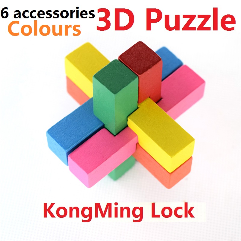 US $1 73 40% OFF|Hot Sales KongMing Lock/Luban Lock 3D Puzzle Wooden Brain  Teaser Puzzle Intelligence game Toys for 12 accessories Best gift-in