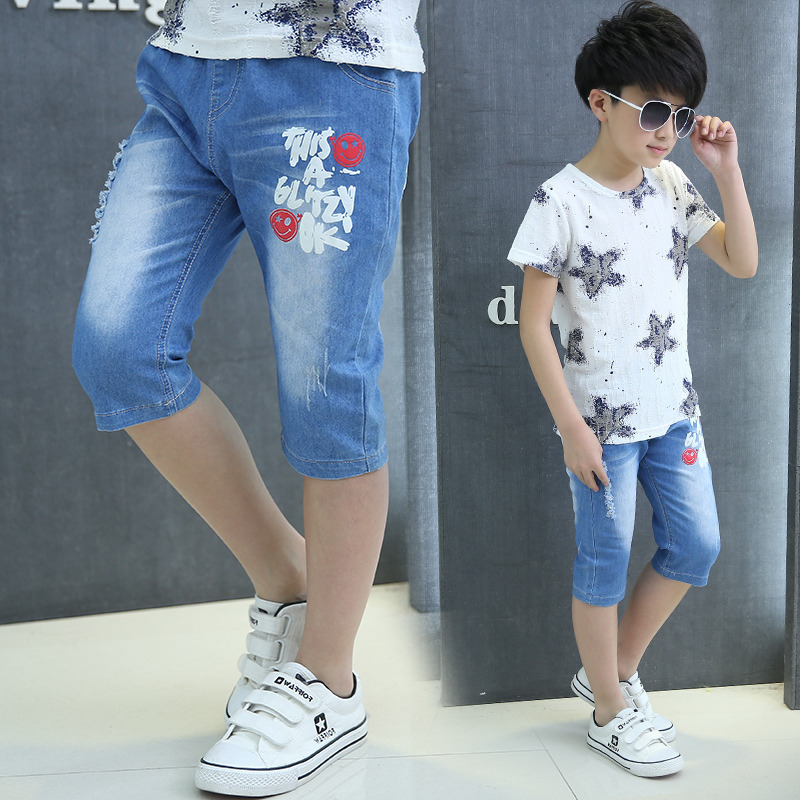 Smile Face Print 3-12 Years Children Boys Shorts Jeans Shorts Denim Capri Short Pants Summer Casual Kids Pants Teen Boys Clothes