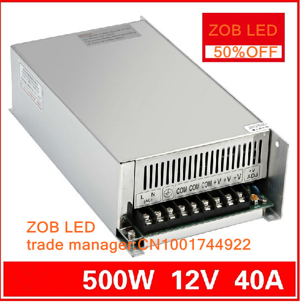 480W/500W LED Switching Power Supply,12V 40A power supply 12V Output,85-265AC input,FREE SHIPPING 400w led switching power supply 24v 16 7a 85 265ac input ce rosh power suply 24v output