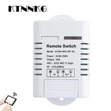цена на 110V-220V 30A Water Heater WIFI Switch Wireless Smart Light Switch 1CH Remote Relay Receiver eWeLink APP Control with RF KTNNKG