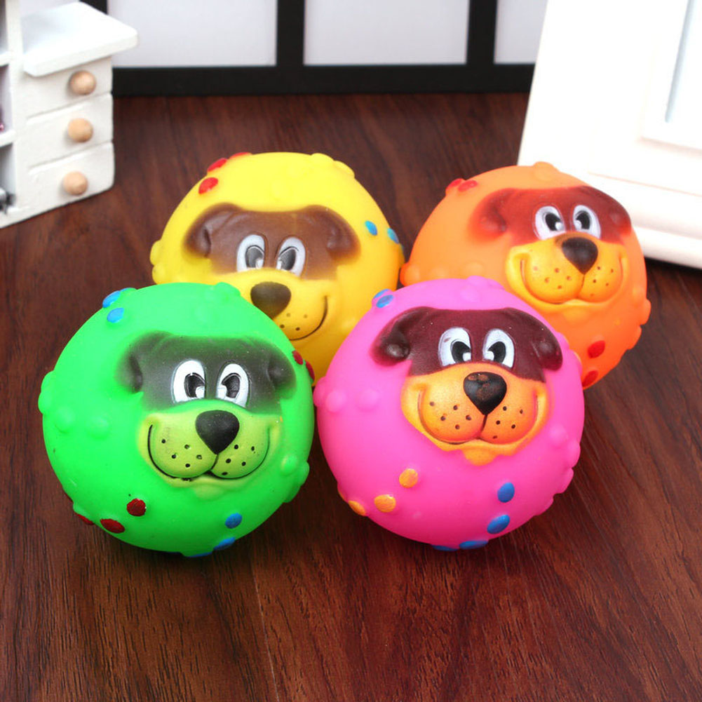 COLOR RANDOM Cat Dog Toys Soft Rubber Dog Face Chew Squeaker Squeaky Toys For Dog Cat Funny Training Toy Pet Supplies