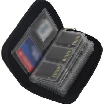 Pudełko na karty pamięci Etmakit futerał do przenoszenia portfel z uchwytem 18 gniazd + 4 gniazda na akcesoria do gier CF SD SDHC MS DS 3DS tanie i dobre opinie Karta cf Nylon Black DZ0366-01
