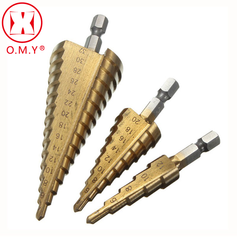 OMY 3Pcs Metric Spiral Flute Step HSS Steel 4241 Cone Hex Shank Titanium Coated Drill Bits Tool Set Hole Cutter 4-12/ 20/ 32mm 3 175 12 0 5 40l one flute spiral taper cutter cnc engraving tools one flute spiral bit taper bits