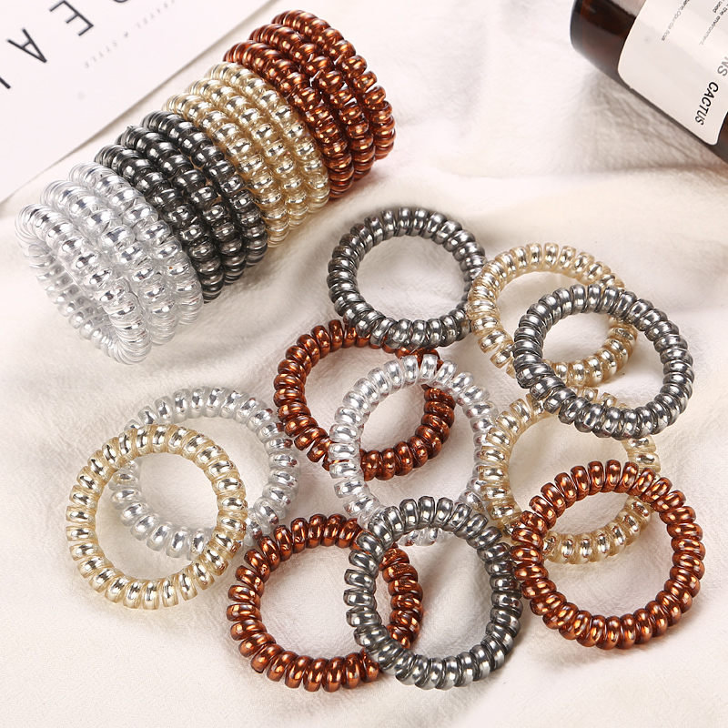 4Pcs/Lot 5.5CM New High Level Telephone Cord Women Elastic Hair Holders Rubber Bands Girls Tie Gum Ponytail Hair Accessories
