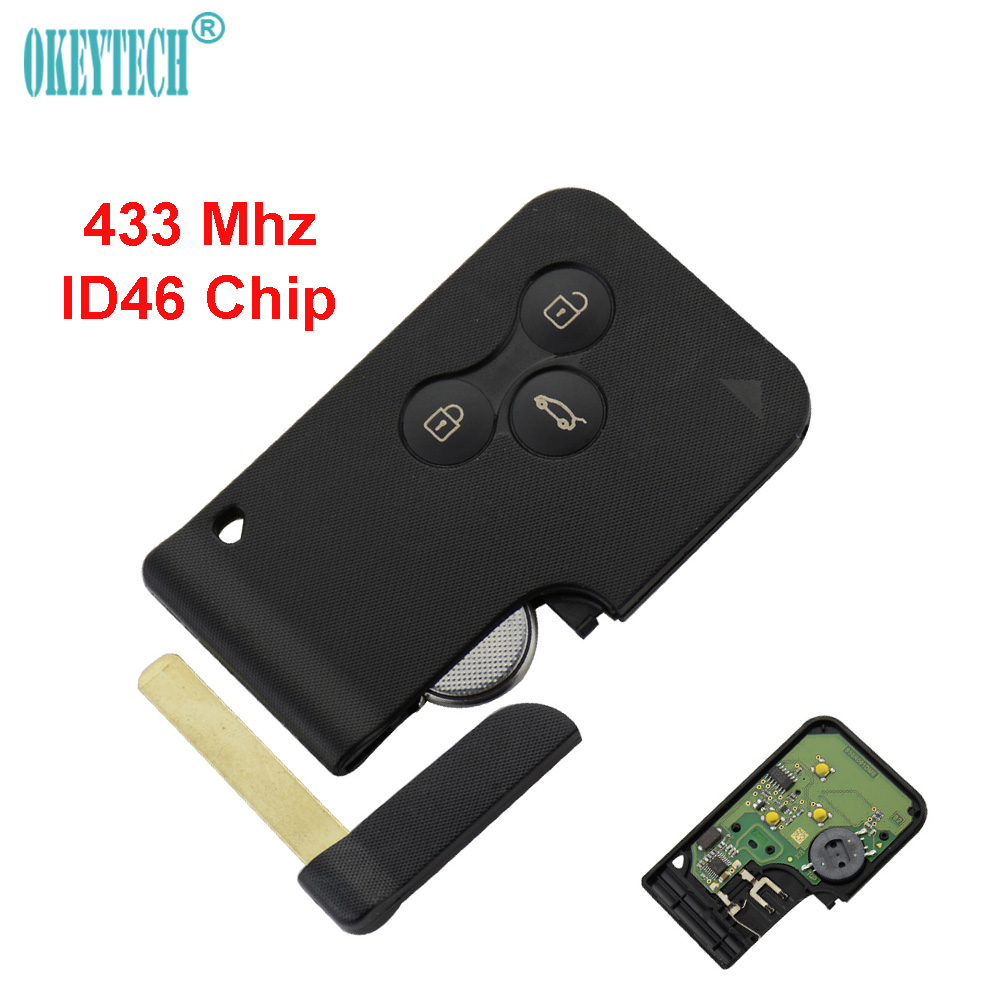 OkeyTech 433Mhz ID46 Chip With Small Key Blade Uncut Remote Control Car Key Smart Card For Renault Key For Megan Free Shipping