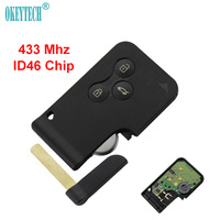 OkeyTech 433Mhz ID46 Chip With Small Key Blade Uncut Remote Control Car Key Smart Card For