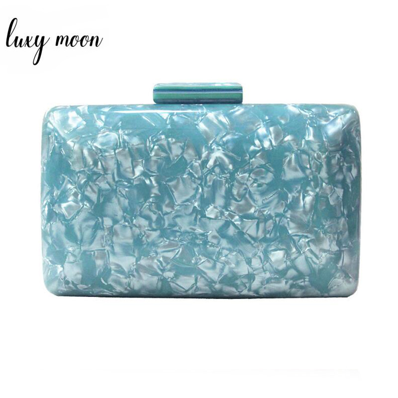 Luxy Moon Fashion Acrylic Evening Clutches Blue Box Shape Bag for Women Handbag Chain Shoulder Bag Wedding Clutch Bag Purse
