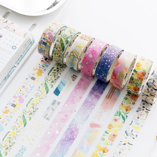1 piezas/1 lote cintas adhesivas Washi Masking color de la flor cielo estrellado cielo adhesivo decorativo DIY Scrapbooking papel japonés pegatinas 5 M