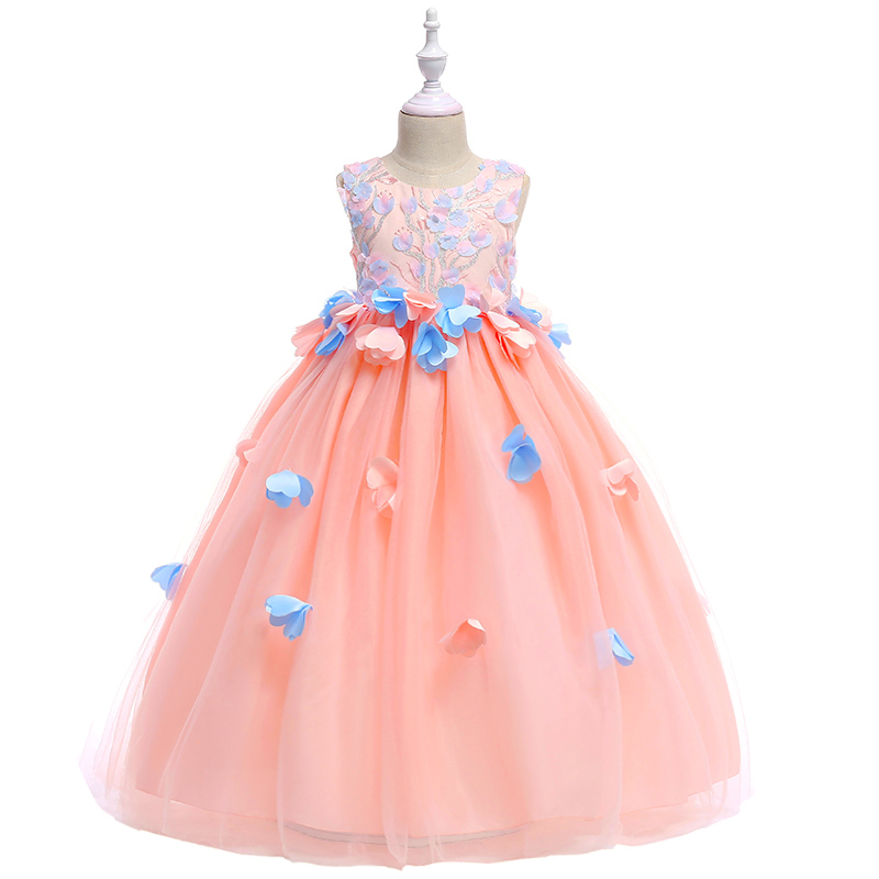 Top Sale Appliques Petal Princess Embroidery Cute Flower Girls Dress Evening Prom Gown Long Dress With Big Sashes 2019