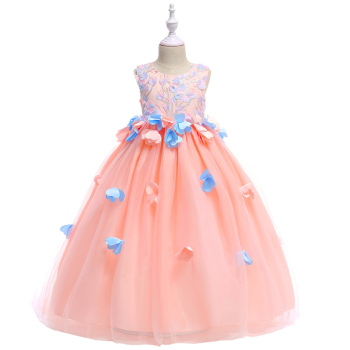 Top Sale Appliques Petal Princess Embroidery Cute Flower Girls Dress  Evening Prom Gown Long Dress With Big Sashes 2019 girls open shoulder flower embroidery top