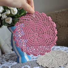4PCS/LOT 6″(15CM) Pink Placemat Crocheted Doilies French Country Doliy Handmade Crochet Lace Cupmat