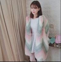 2017 New Fake Fur In The Long Section Of The V Neck Coat Girl Sweet Girl