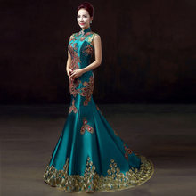 Green Luxury Embroidery Party Dresses Cheongsam Chinese Wedding Dress Evening Beautiful Robe Chinoise Femme Qipao