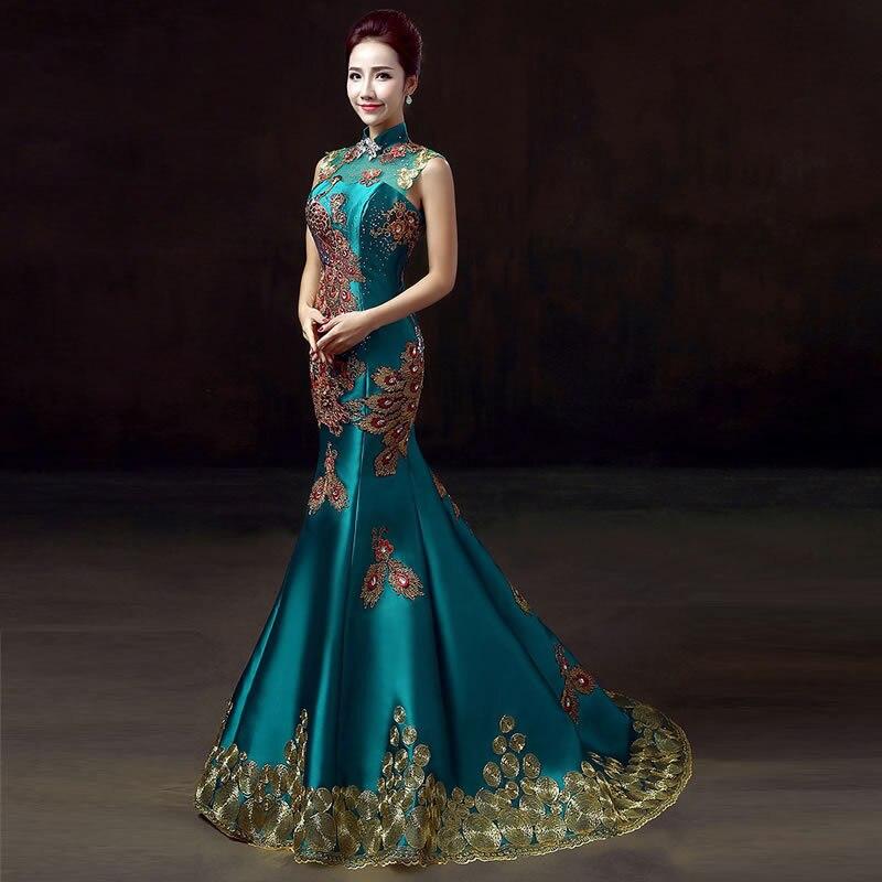 Abiti Da Sposa Verdi.Verde Di Lusso Del Ricamo Vestiti Da Partito Cheongsam Cinese
