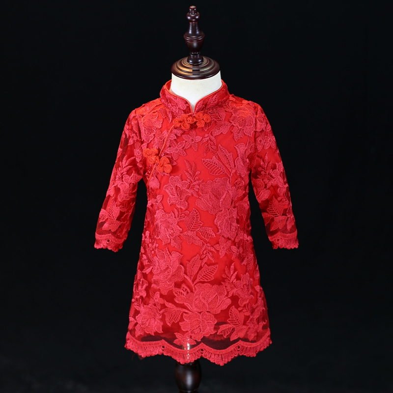 Autumn family clothing kids Chinese Tong suit girls children fashion photo dress matching mother and daughter formal lace dress family photo