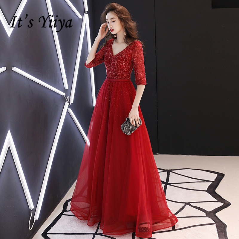 It's YiiYa   Evening     Dress   Shining Fabric Pachwork Mesh V-neck Half Sleeve Formal Gown Vintage Wine Red Long Party   Dresses   E093