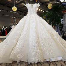 LS74232 vestido de noiva 2019 ivory and champagne off shoulder sweetheart ball gown lace up wedding dresses with long train(China)