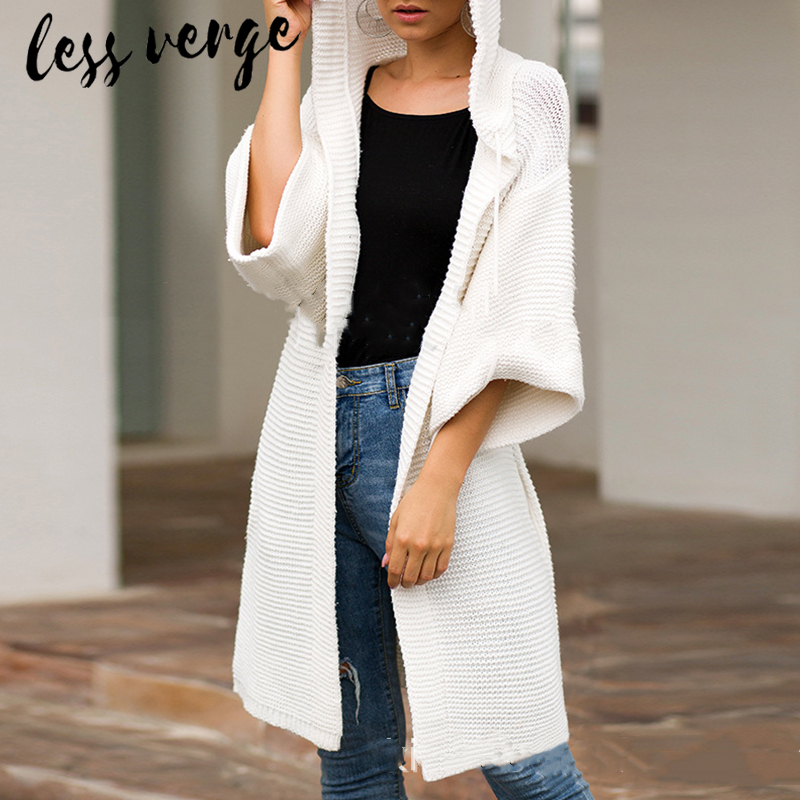 lessverge Casual knitted white long cardigan Autumn winter hooded women sweater jumper Loose pink coat korean christmas sweater