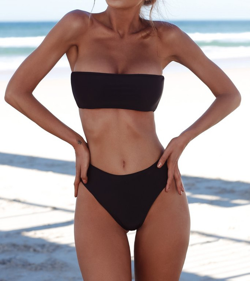 2018 Sexy bandeau bikini high waist swimsuit strapless bathing suit swimwear women bather maillot de bain biquini Drop Shipping