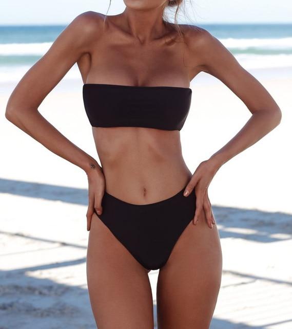 aa448016b8ae2 2018 Sexy bandeau bikini high waist swimsuit strapless bathing suit swimwear  women bather maillot de bain biquini Drop Shipping