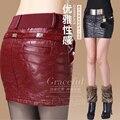 Сексуальный вышивка кожаная юбка тонкие бедра юбка осень и зима пу короткая юбка женский 2015 кожаная одежда