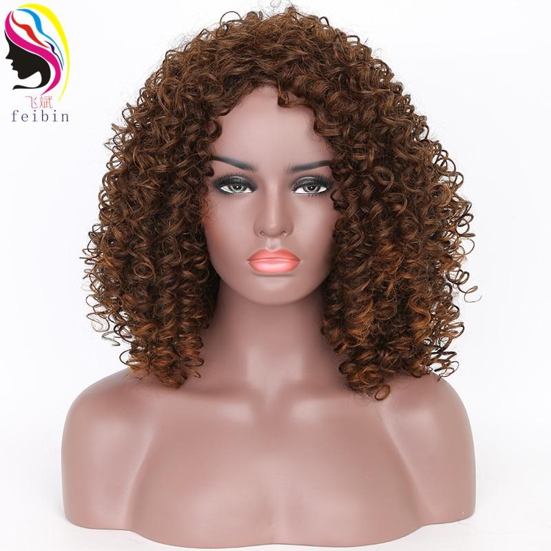 Feibin perucas africanas para mulheres preto marrom kinky encaracolado ombre loira natureza preto perucas afro sintéticas 12-14 polegadas