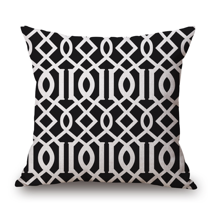 1 Stuk Zwart Wit Eenvoudige Korte Patroon Seat Knuffel Pillow Cover Decoratieve Thuis Stoel Sierkussen Case Katoen Linnen 45 Cm