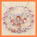 Exquisite Orange Morganite Drop Bracelets Jewelry Sets For Women Angelic 925 Sterling Silver Earrings/Ring/Necklace/Pendant